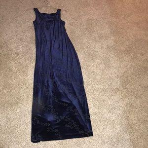 Full-length, navy blue, velvet dress